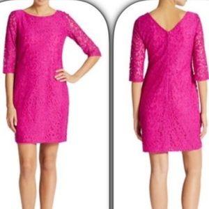 Fuscia Lace Sheath Dress